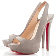 Replica Christian Louboutin Cheyenne 140mm Slingbacks Elefante Cheap Fake Shoes