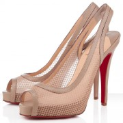 Replica Christian Louboutin Canne A Peche 120mm Slingbacks Beige Cheap Fake Shoes