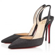 Replica Christian Louboutin Ever 100mm Slingbacks Black Cheap Fake Shoes