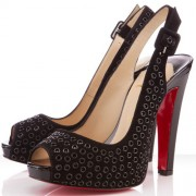 Replica Christian Louboutin Aicha 120mm Slingbacks Black Cheap Fake Shoes