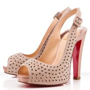 Replica Christian Louboutin Aicha 120mm Slingbacks Nude Cheap Fake Shoes