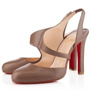 Replica Christian Louboutin Atomic 100mm Slingbacks Taupe Cheap Fake Shoes