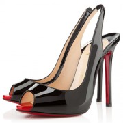 Replica Christian Louboutin Flo 100mm Slingbacks Black/Rouge Lipstick Cheap Fake Shoes