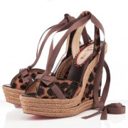 Replica Christian Louboutin Isabelle 140mm Wedges Leopard Cheap Fake Shoes