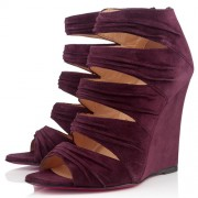 Replica Christian Louboutin Developpa 100mm Wedges Plum Cheap Fake Shoes