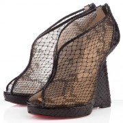 Replica Christian Louboutin Janet 120mm Wedges Black Cheap Fake Shoes