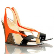 Replica Christian Louboutin Yasmine 100mm Wedges Orange Cheap Fake Shoes