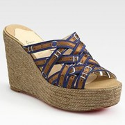 Replica Christian Louboutin Crepon 100mm Wedges Blue Cheap Fake Shoes