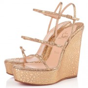 Replica Christian Louboutin 123 Zeppa 140mm Wedges Gold Cheap Fake Shoes