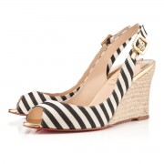 Replica Christian Louboutin puglia 80mm Wedges Black/Gold Cheap Fake Shoes