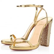 Replica Christian Louboutin Au Palace 120mm Sandals Gold Cheap Fake Shoes