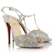 Replica Christian Louboutin Margi Diams 120mm Sandals Silver Cheap Fake Shoes