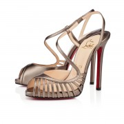 Replica Christian Louboutin Scoubridou 120mm Sandals Bronze Cheap Fake Shoes
