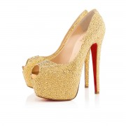 Replica Christian Louboutin Highness Strass 160mm Peep Toe Pumps Yellow Cheap Fake Shoes
