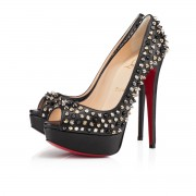 Replica Christian Louboutin Lady Peep Spikes 140mm Peep Toe Pumps Black/Mix Cheap Fake Shoes