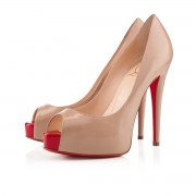 Replica Christian Louboutin Vendome 120mm Peep Toe Pumps Nude/Red Cheap Fake Shoes