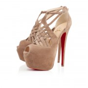 Replica Christian Louboutin Carlota 160mm Platforms Beige Cheap Fake Shoes