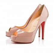 Replica Christian Louboutin Hyper Prive 120mm Peep Toe Pumps Nude Cheap Fake Shoes