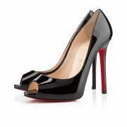Replica Christian Louboutin Flo 120mm Peep Toe Pumps Black Cheap Fake Shoes