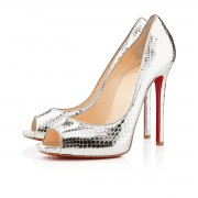 Replica Christian Louboutin Flo 120mm Peep Toe Pumps Silver Cheap Fake Shoes