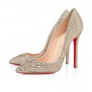 Replica Christian Louboutin Pigalle Strass 120mm Special Occasion Gold Cheap Fake Shoes