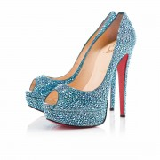 Replica Christian Louboutin Lady Peep Stras 140mm Special Occasion Saphir Cheap Fake Shoes