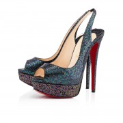 Replica Christian Louboutin Lady Peep Sling 140mm Special Occasion Blue Khol Cheap Fake Shoes