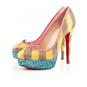 Replica Christian Louboutin Foraine 140mm Platforms Yellow/Stone Cheap Fake Shoes