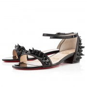 Replica Christian Louboutin Druide Flat Sandals Black Cheap Fake Shoes