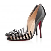 Replica Christian Louboutin Pivichic pvc 100mm Pumps Black Cheap Fake Shoes