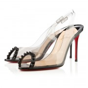 Replica Christian Louboutin Ring My Toe 80mm Slingbacks Black Cheap Fake Shoes