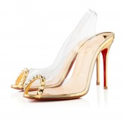Replica Christian Louboutin Ring My Toe 80mm Slingbacks Gold Cheap Fake Shoes