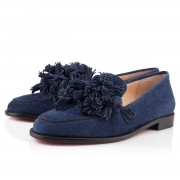 Replica Christian Louboutin Japonaise Loafers Navy Cheap Fake Shoes