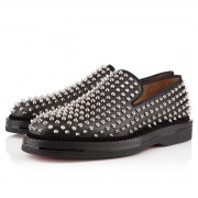Replica Christian Louboutin Fred Au 14 Loafers Black/Silver Cheap Fake Shoes