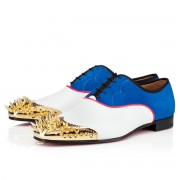Replica Christian Louboutin Tyronito Loafers White/Blue Cheap Fake Shoes