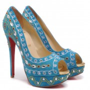 Replica Christian Louboutin Bollywoody 140mm Peep Toe Pumps Blue Cheap Fake Shoes