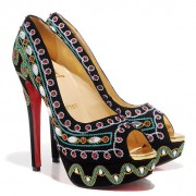 Replica Christian Louboutin Bollywoody 140mm Peep Toe Pumps Black Cheap Fake Shoes