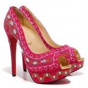 Replica Christian Louboutin Bollywoody 140mm Peep Toe Pumps Hot Pink Cheap Fake Shoes
