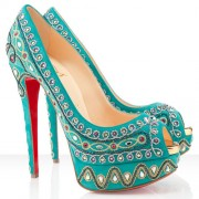 Replica Christian Louboutin Bollywoody 140mm Peep Toe Pumps Turquoise Cheap Fake Shoes