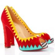 Replica Christian Louboutin Tibu 120mm Peep Toe Pumps Red Cheap Fake Shoes