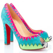 Replica Christian Louboutin Tibu 120mm Peep Toe Pumps Blue Cheap Fake Shoes
