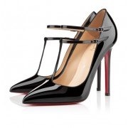 Replica Christian Louboutin V Neck 100mm Pumps Black Cheap Fake Shoes