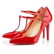 Replica Christian Louboutin V Neck 100mm Pumps Red Cheap Fake Shoes