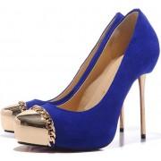 Replica Christian Louboutin Metalipp 120mm Pumps Blue Cheap Fake Shoes
