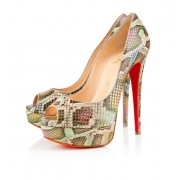 Replica Christian Louboutin Lady 140mm Peep Toe Pumps Multicolor Cheap Fake Shoes