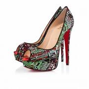 Replica Christian Louboutin Lady 140mm Peep Toe Pumps Black Cheap Fake Shoes