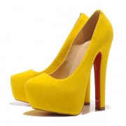Replica Christian Louboutin Daffy 160mm Pumps Yellow Cheap Fake Shoes