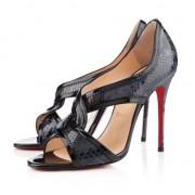 Replica Christian Louboutin Suzanana 100mm Peep Toe Pumps Black Cheap Fake Shoes
