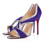 Replica Christian Louboutin Suzanana 100mm Peep Toe Pumps Purple Cheap Fake Shoes