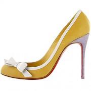 Replica Christian Louboutin Beauty 100mm Pumps Yellow Cheap Fake Shoes